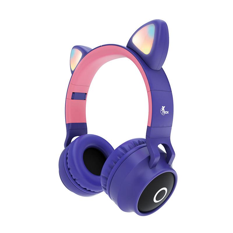 Fone de Ouvido Headphone XTH-650 Wireless com Microfone Bluetooth Hera Roxo/Rosa Xtech