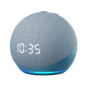 Dispositivo Smart Home Echo Dot 4G Alexa com Relogio Azul Amazon