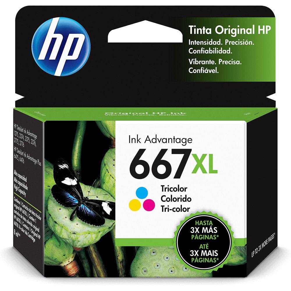 Cartucho de Tinta 667XL Colorido 3YM80AL Hp