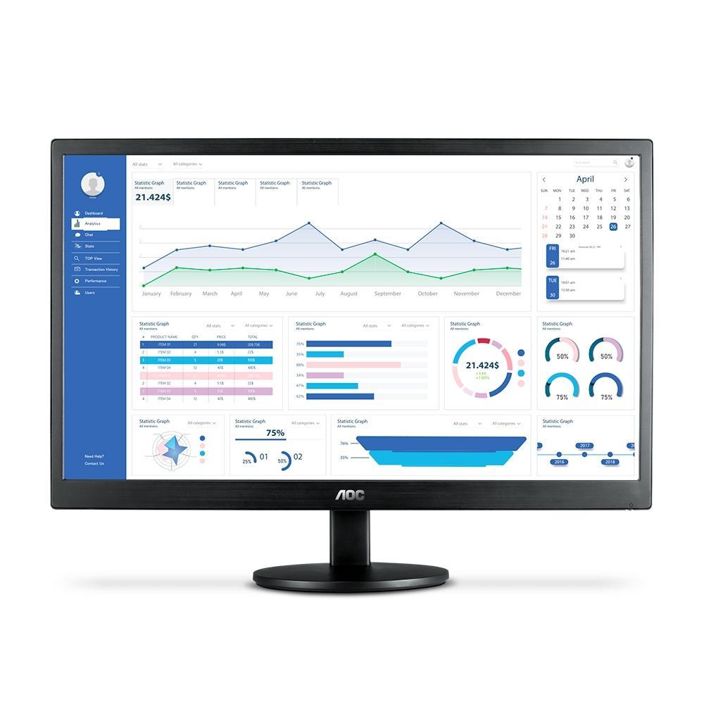"""Monitor LED 21,5"""" Full HD Widescreen E2270SWHEN Preto AOC"""
