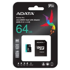 Cartao de Memoria Micro SDXC 64GB Classe 10 V30S Adata