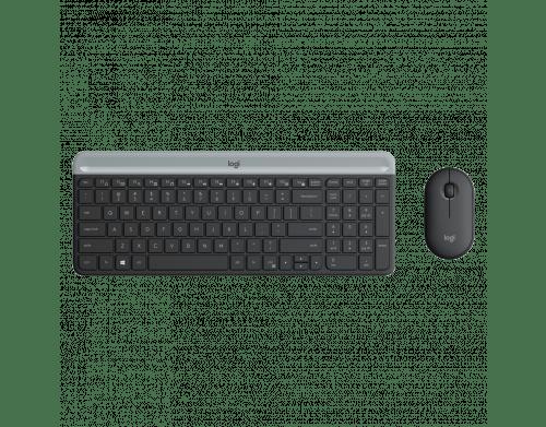 Kit Teclado e Mouse Sem fio MK470 Slim Ultrafino Preto Logitech