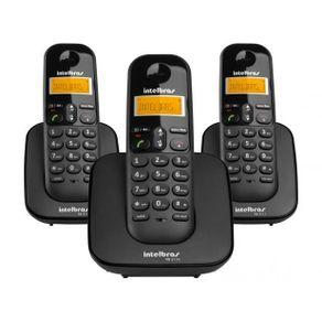 Telefone Sem Fio +2 Ramais com Ientificador de Chamada TS 3113 Preto Intelbras