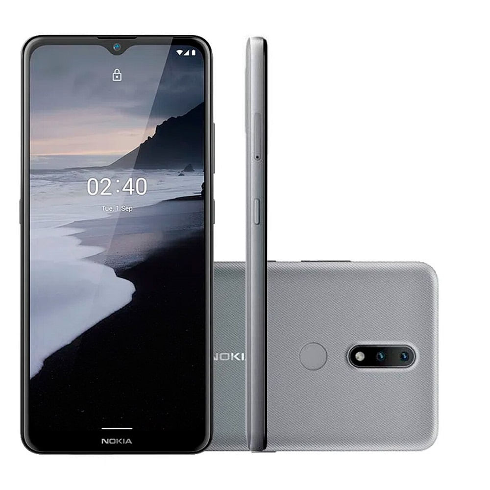 """Smartphone Nokia 2.4 NK015 4G Dual Android 11 64GB Cam 13mp + 2mp 6.5"""" Cinza"""