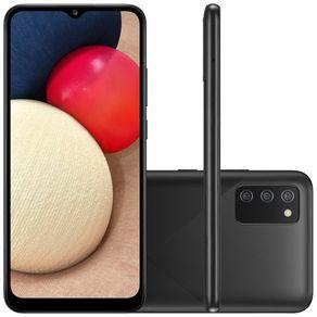 "Smartphone Galaxy A02s Dual 4G Android 10 32GB Cam 13MP+2MP+2MP+Camera Frontal 5MP Octa-Core Tela Infinita 6.5"" Preto Samsung"