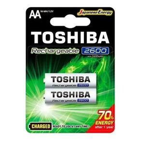 Pilha Recarregavel AA com 2 Unidades 2600mAh Toshiba