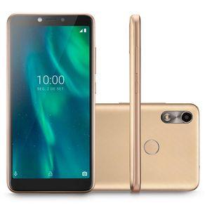 "Smartphone F Dual 3G Android 9 32GB Cam 5MP Frontal 5MP Quad-Core Tela 5.5"" P9130 Dourado Multilaser"
