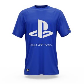 Camiseta Playstation Katakana Azul (P) Banana Geek