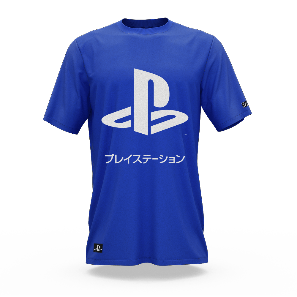 Camiseta Playstation Katakana Azul (M) Banana Geek