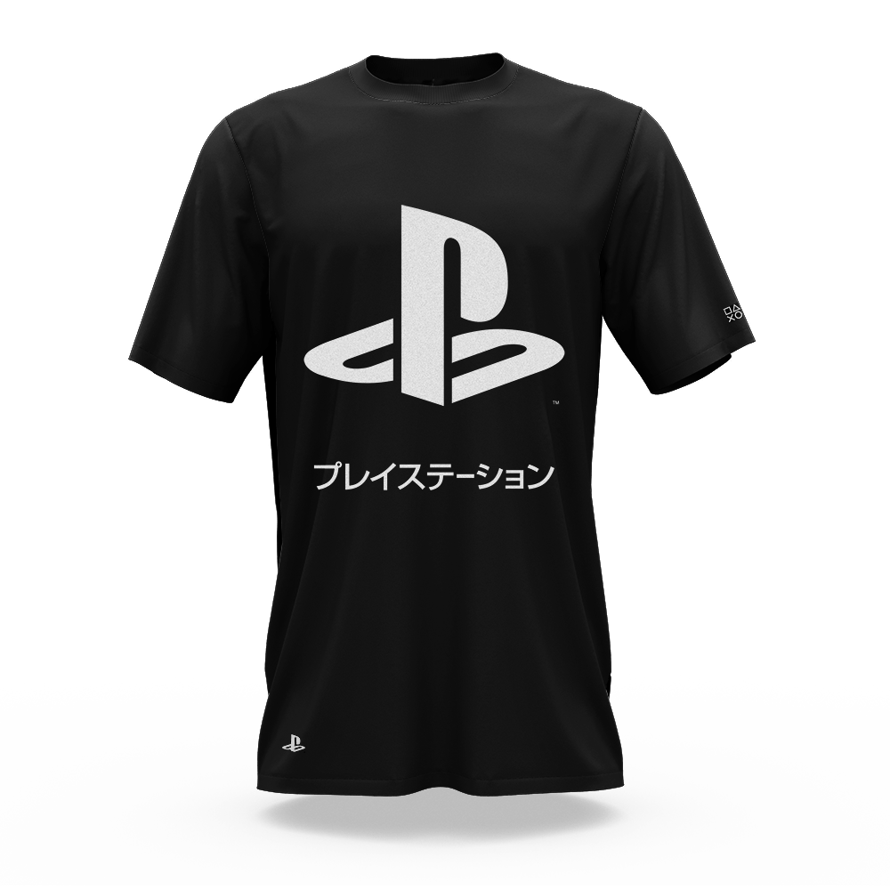 Camiseta Playstation Katakana Preto (GG) Banana Geek