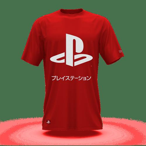 Camiseta Playstation Katakana Vermelho (GG) Banana Geek