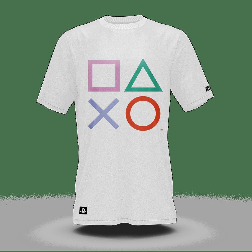 Camiseta Playstation Classic Symbols Color Branco (M) Banana Geek