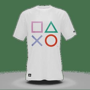 Camiseta Playstation Classic Symbols Color Branco (GG) Banana Geek