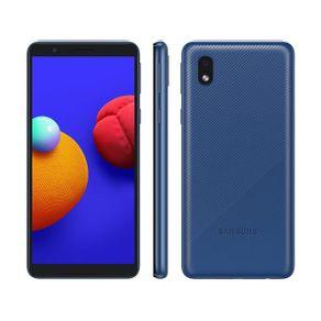 "Smartphone Galaxy A01 Core Dual 4G Android 10 32GB Cam 8MP+Camera Frontal 5MP Quad-Core Tela Infinita 5.3"" Azul Samsung"