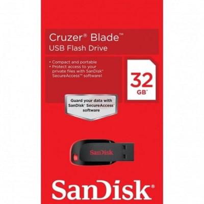 Pen Drive Cruzer Blade CZ50 32GB USB 2.0 Preto e Vermelho Sandisk