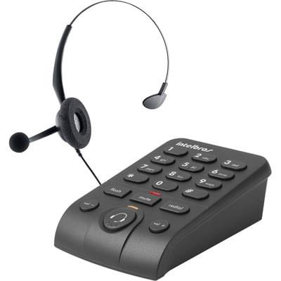 Telefone com fio Headset com Base Discadora HSB50 Preto Intelbras