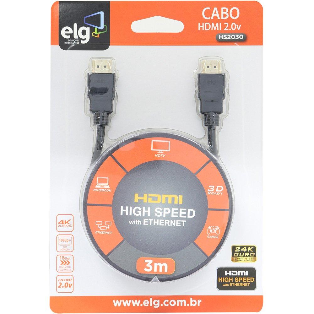 Cabo Video HDMI 3M Preto ELG