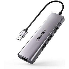 Adaptador USB-C 3.0 para  RJ45 Gigabit 10-100-1000 Cinza 3 USB Ugreen