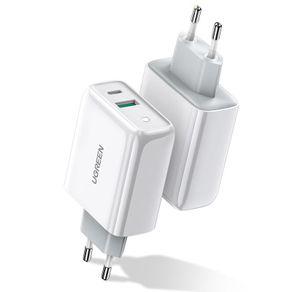 Carregador de Viagem Turbo USB para USB-C 36W CD170 Branco Ugreen