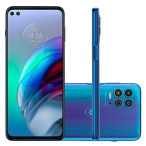 "Smartphone Moto G100 5G Android 11 256GB Cam Quadrupla 64MP+16MP+2MP+TOF Cam Frontal 16MP+8MP Octa-Core Tela 6,7"" Azul Motorola"