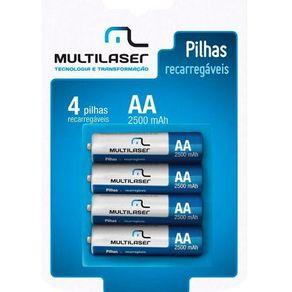 Pilha Recarregavel  AA com 4 Unidades de 2500mAh CB052 Multilaser