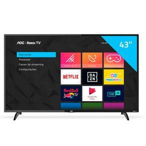 "Smart TV LED 43"" FHD Roku WiFi HDMI USB 43S5195/78G AOC"